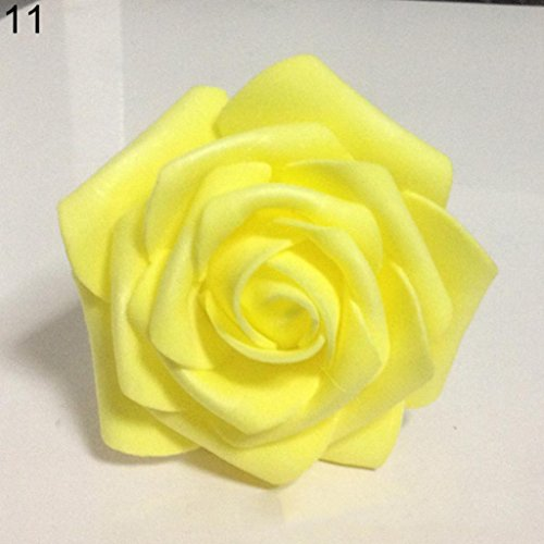 - 50Pcs Fake Foam Roses Artificial Flowers Wedding DIY Bridal Bouquet Party Decor - Yellow 50pcs Ameesi