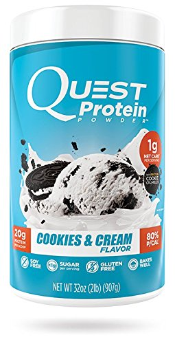 Quest Nutrition Protein Powder, Cookies & Cream, 20g Protein, 1g Net Carbs, 80% P/Cals, 2lb Tub, High Protein, Low Carb, Gluten Free, Soy Free, Packaging May Vary - Protein 2 Lb Cookies