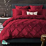 Hughapy 4-Pieces Cotton Imitated Silk Luxury Bedding Set Solid Color Pinch Pleat Bed Set King Queen Bed Linens Duvet Cover Bed Sheet Full Red