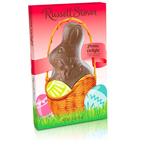 Russell Stover Milk Chocolate Pecan Delight Flatback Rabbit, 3 Ounce, 12 Count ()