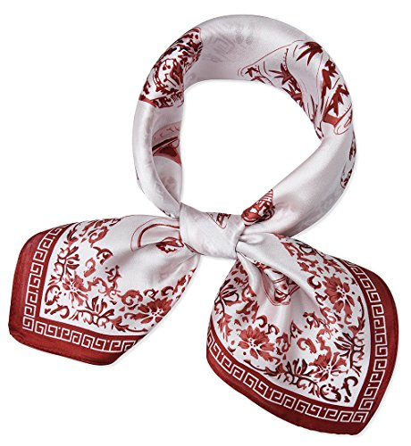 corciova Women 100% Mulberry Silk Neck Scarf Small Square Scarves Neckerchiefs Red Brown Blue and White Porcelain Design