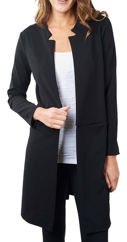 Joseph Ribkoff Black Knee Length Open Coverup Jacket Style 171411 - Size 12 by Joseph Ribkoff