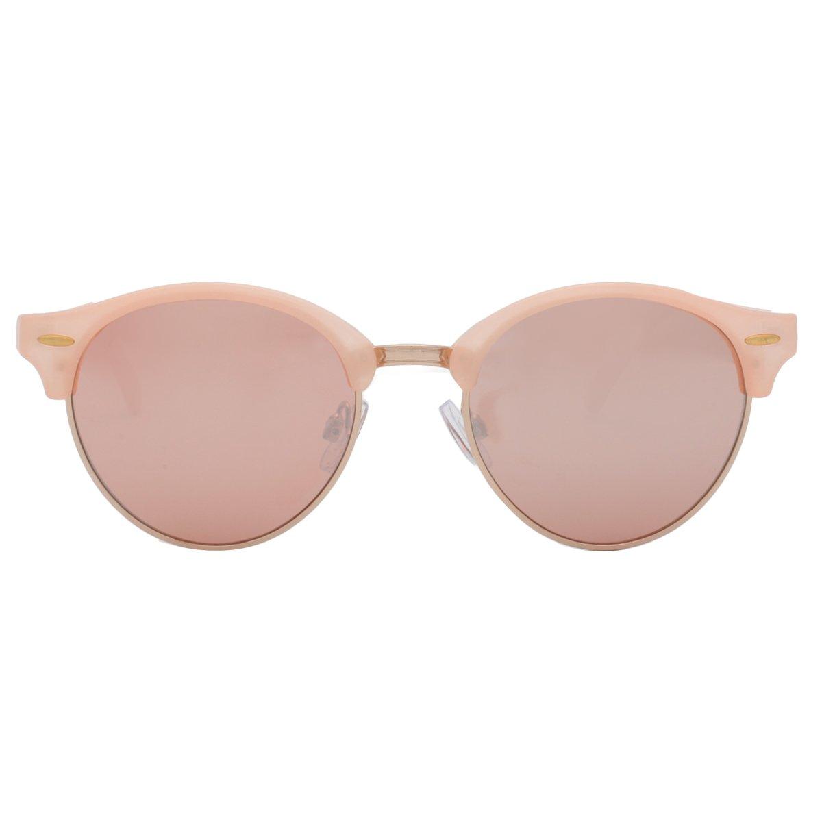 vivienfang Vintage Ronda de medio marco gafas de sol ...
