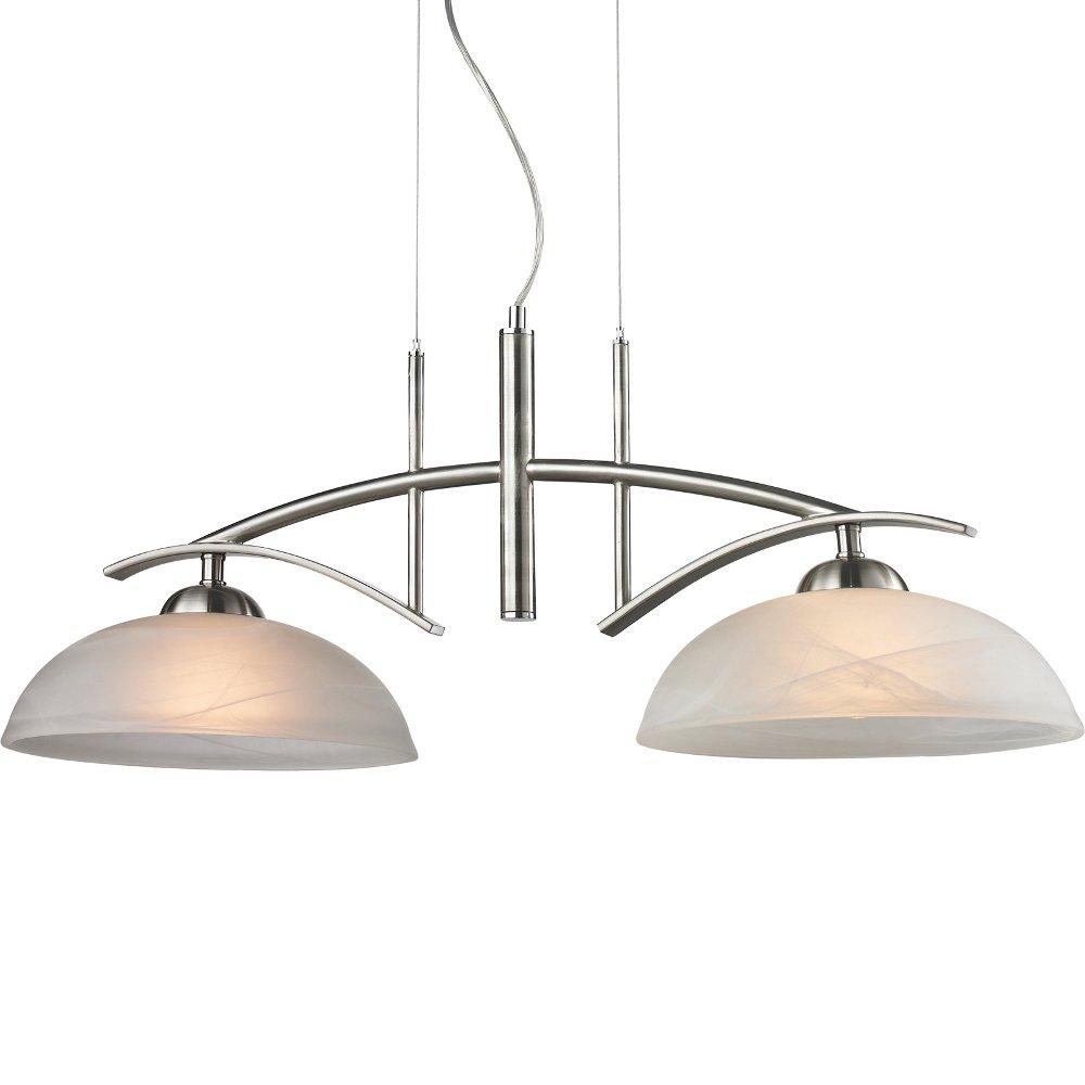 Elegante Pendellampe Hängeleuchte Länge 109,5 cm Glas Stahl Esszimmer Küche Flur