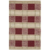 Everson Red, White, Tan Wool & Cotton Rug Rect 20x30