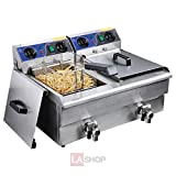 20L Dual Tank Stainless Steel Electric Deep Fryer w/ Drain