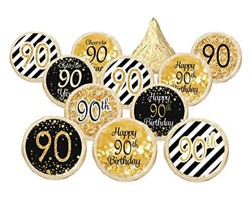 90th-birthday-party-decorations-gold-black-stickers-for-hershey-kisses-set-of-324