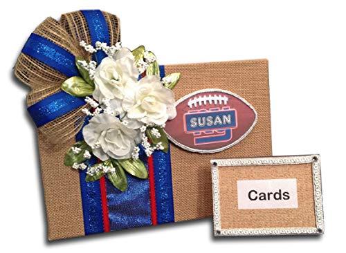 Football Fan Rustic Handmade Burlap Wedding Card Box, custom, personalized -
