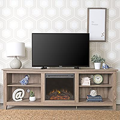 Amazon.com: New 70 Inch Wide Fireplace Television Stand in Driftwood Finish: Kitchen & Dining