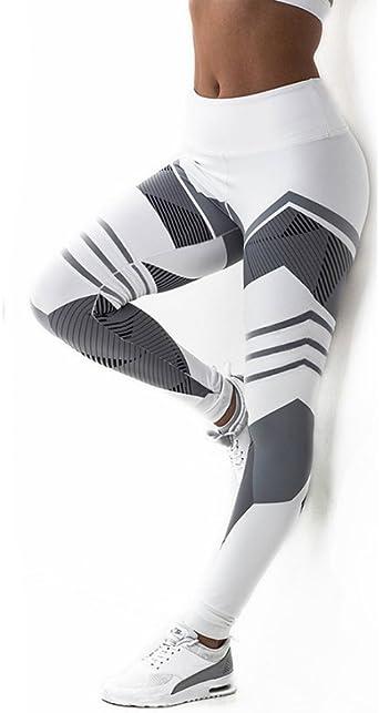 Aimage Damen Leggings Sport Yoga Fitness Lange Hosen Stretch High Elastic Pants mit Streifen Print Sporthose Fitnesshose