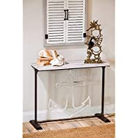 Cape Craftsmen Classic Metal Anchor Hall Table with Wooden Plank Top