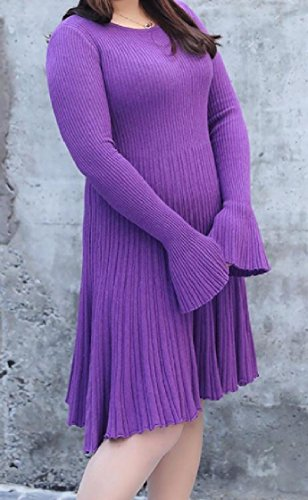 Pintuck Purple Sweater Scoop Sleeve Solid Women Pullover Flare Coolred Oversize Neck Knitted aFAPqHn