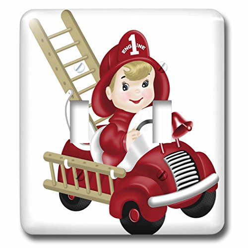 3dRose Anne Marie Baugh - Illustrations - Cute Firetruck With Little Boy Fireman Illustration - Light Switch Covers - double toggle switch (lsp_267643_2)