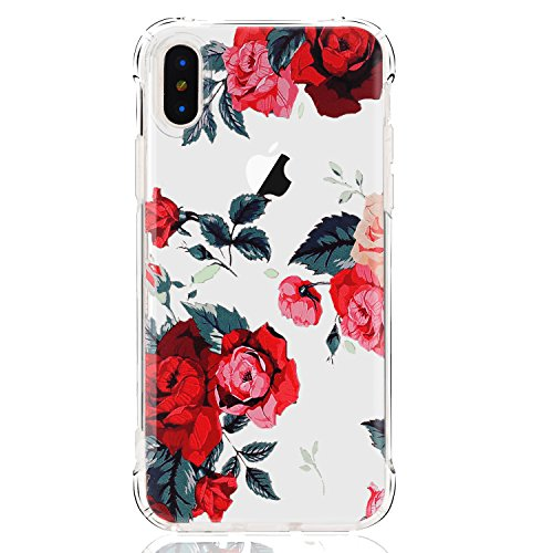 LUOLNH iPhone X Case,iPhone Xs Case with Flowers,Slim Shockproof Clear Floral Pattern Soft Flexible TPU Back Covercase for iPhone X/Xs -Red Rose