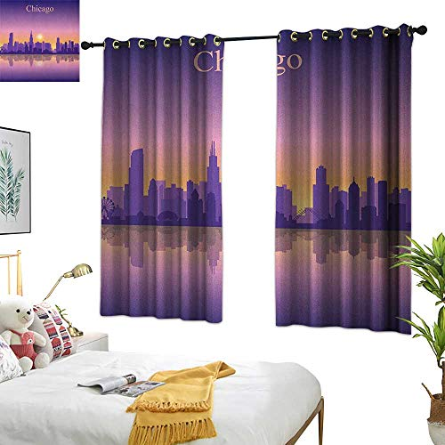 (Warm Family Grommet Curtains Chicago Skyline,Sunset in Illinois American Horizon Behind High City Silhouettes, Purple Apricot Pink 54