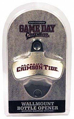 NCAA Alabama Crimson Tide Bottle Opener Metal Retro Wall Mount, Small, Metallic with Team Color (Bottle Retro Opener)