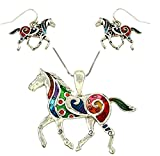 DianaL Boutique Colorful Enameled Horse Pendant Necklace and Earrings Set, 24