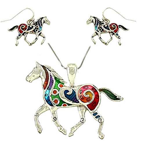 Hand Painted Pendant Necklace - DianaL Boutique Colorful Enameled Hand Painted Horse Pendant Necklace and Earrings Set with 18