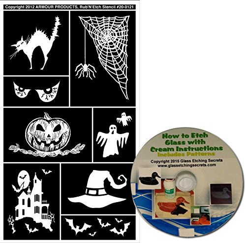 Halloween Glass Etching Stencils #2 with Black Cat, Spooky Eyes, Jack-O-Lantern, Haunted House, Spider Web, Ghosts + Free How to Etch CD for $<!--$4.99-->