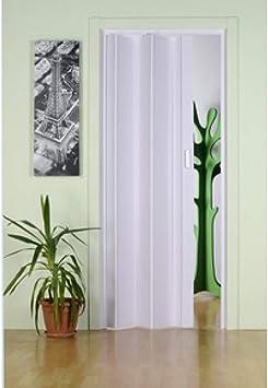 Puerta plegable de PVC blanco de interior con asa para ahorrar espacio Monica