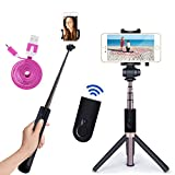 Selfie Stick Bluetooth Monopod with Foldable Tripod Stand and Remote Control Extendable Aluminum Alloy 360 Rotation Phone Holder for iPhone 6s Plus 7 Plus Samsung s7 Edge