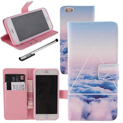 Für Apple iPhone 6/iPhone 6S (11,9cm), urvoix (TM) PU Leder Wallet Case Flip Cover [Sky Cloud] W/Ständer Feature/Magnetverschluss/ID Kreditkarte Cash Halterung (nicht für 6Plus)