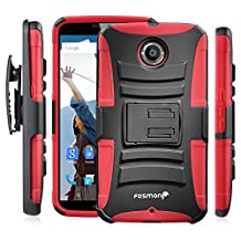 Fosmon® Google Nexus 6 (STURDY Series) Heavy Duty Dual Layer Hybrid Holster Case with Kickstand and Belt Clip for Motorola Nexus 6 - Fosmon Retail Packaging (Red)