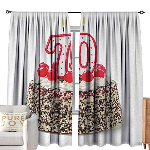 flyrio Decor Curtains Birthday Cake with 70 Number Candles and Sprinkles Party Event Photo Image Darkening and Thermal Insulating W108 x L84 ()