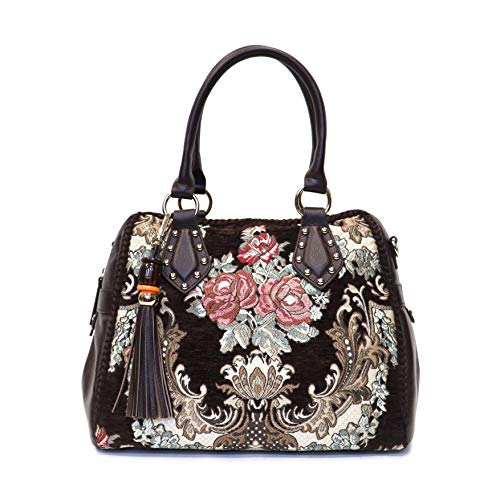 Sharif 1827 Luxury Romantic Floral Tapestry Leather trim Satchel Handbag (Trim Satchel Handbag)