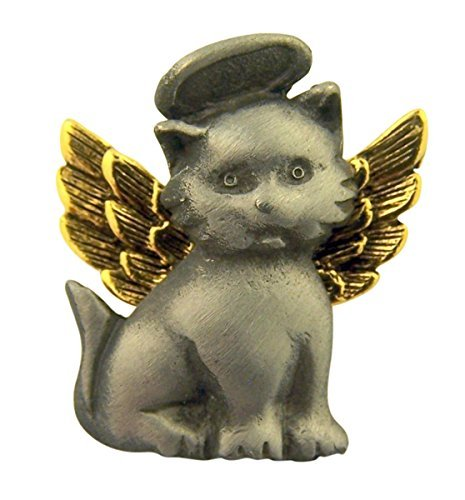 (Pewter Protect My Pet Two-Tone Lapel Pin, 1 Inch (Cat with Wings))