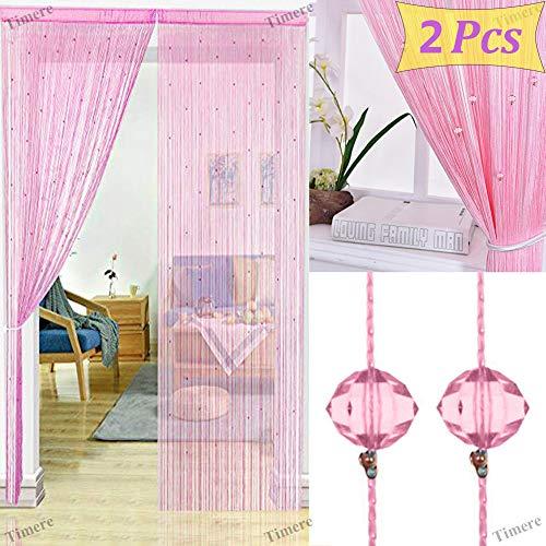 2 Pcs Crystal Beaded Curtain Tassel Curtain - Partition Door Curtain Beaded String Curtain Door Screen Panel Home Decor Divider Crystal Tassel Screen 90x200cm