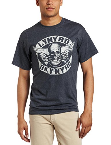 FEA Merchandising Men's Lynyrd Skynyrd Biker Patch T-Shirt, Dark Heather, X-Large