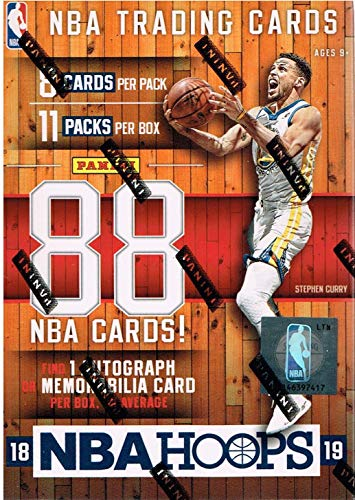 2018 2019 Hoops NBA Basketball Box with One GUARANTEED AUTOGRAPH or MEMORABILIA Card Per Unopened Blaster Box of Packs Possible Rookies and Stars Panini