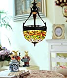 Makenier Vintage Tiffany Style Stained Glass Red Dragonfly Inverted Ceiling Pendant Lamp - 12 Inches Lampshade