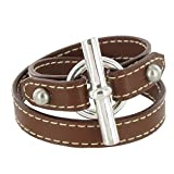 Les Poulettes Jewels - Sterling Silver Bracelet Double Turn - With Brown Leather and T Clasp Knot Design