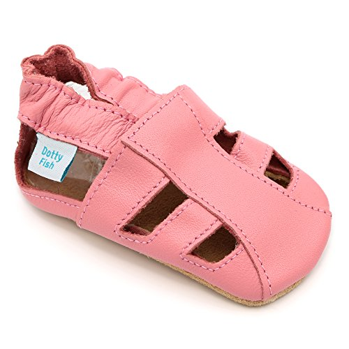 Soft Leather Baby Girls Sandal Shoes with Suede Soles by Dotty Fish - Pink - 12-18 Months