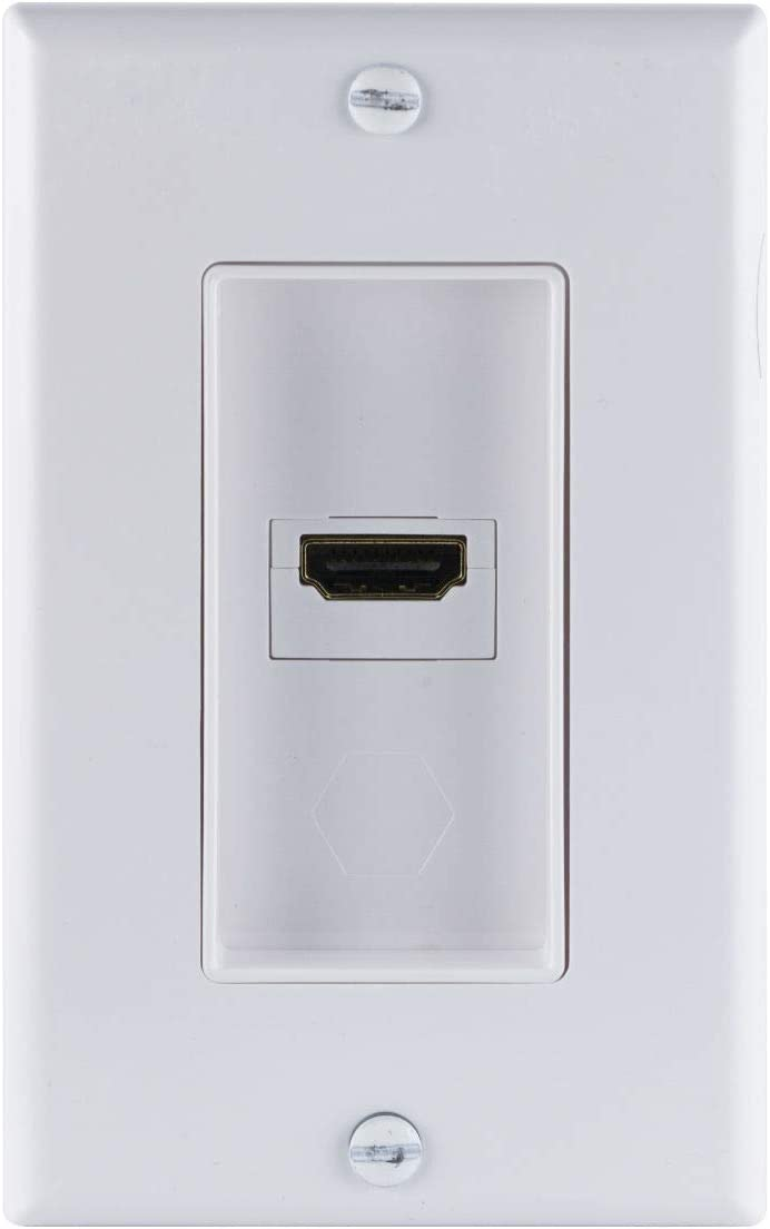 GE HDMI Wall Plate, 1-Port Single Gang, White, Supports Full HD 1080P 4K, Gold Plated Connection, Installation Hardware Included, 35291