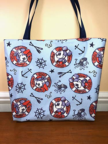 Disney Mickey and Minnie Mouse Reversible Tote Bag, Project Bag, Nautical