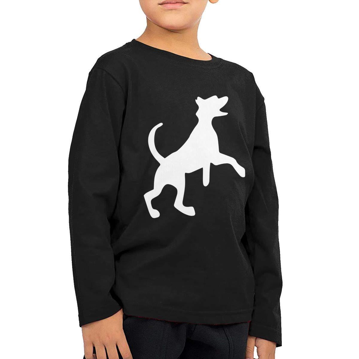 All Black Dog Cartoon Kids Boys Girls O-Neck Long Sleeve Shirt Tee for Toddlers