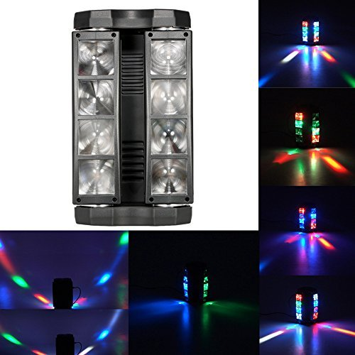 Lixada 8x10W DMX512 RGBW Head Moving Rotatable LED Mini Spider Stage Beam Light Effect Lamp Color Changing Sound Activated Auto Running 13 / 19 Channels