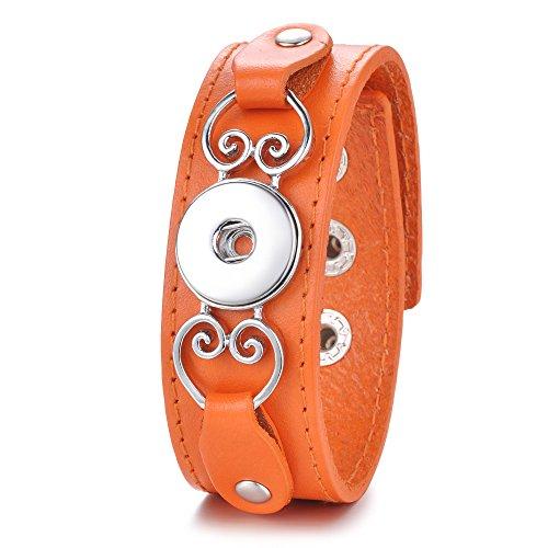 Orange Genuine Bracelets (Genuine Leather Bangle Ginger Snap Jewelry Metal Hearts Fit 18mm Chunk Charm Button Bracelet ANN-607 (Orange))