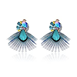 Womens Teens Girls Vintage Bohemian Natural Blue Bird Feather Earrning