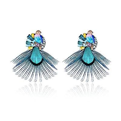 Womens Teens Girls Vintage Bohemian Natural Blue Bird Feather Earrning