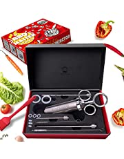 Stainless Steel Meat Injector Kit, Syringe Seasoning Marinade Needles, Including Silicone Brush