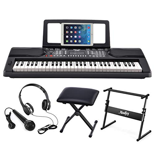 Moukey MEK-200 Electric Keyboard Portable Piano Keyboard Music Kit with Stand, Bench, Headphone, Microphone & Sticker, 61 Key Keyboard, Black