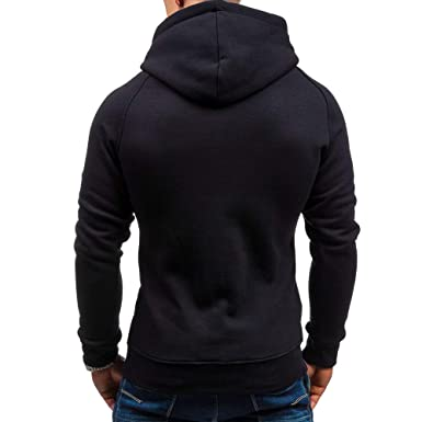 Amacok Mens Coat Jacket Outwear Sweater Autumn Winter Slim Solid Hoodie Warm Hooded Sweatshirt with Zipper Pocket at Amazon Mens Clothing store: