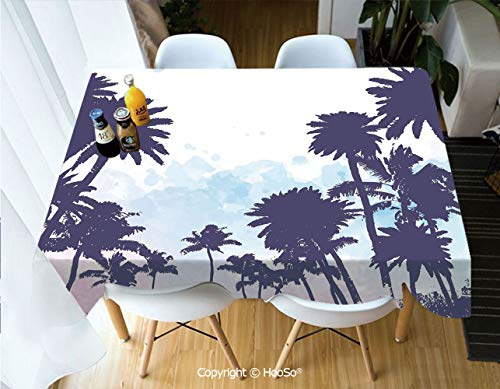 HooSo Premium Polyester Table Cover, Machine Washable, Durable Table Cloths for Wedding Reception Restaurant Banquet Party,Apartment Decor,Miami South American Plant Forest,53