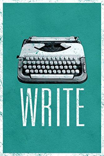 Write Manual Typewriter Green Art Print Poster 12x18