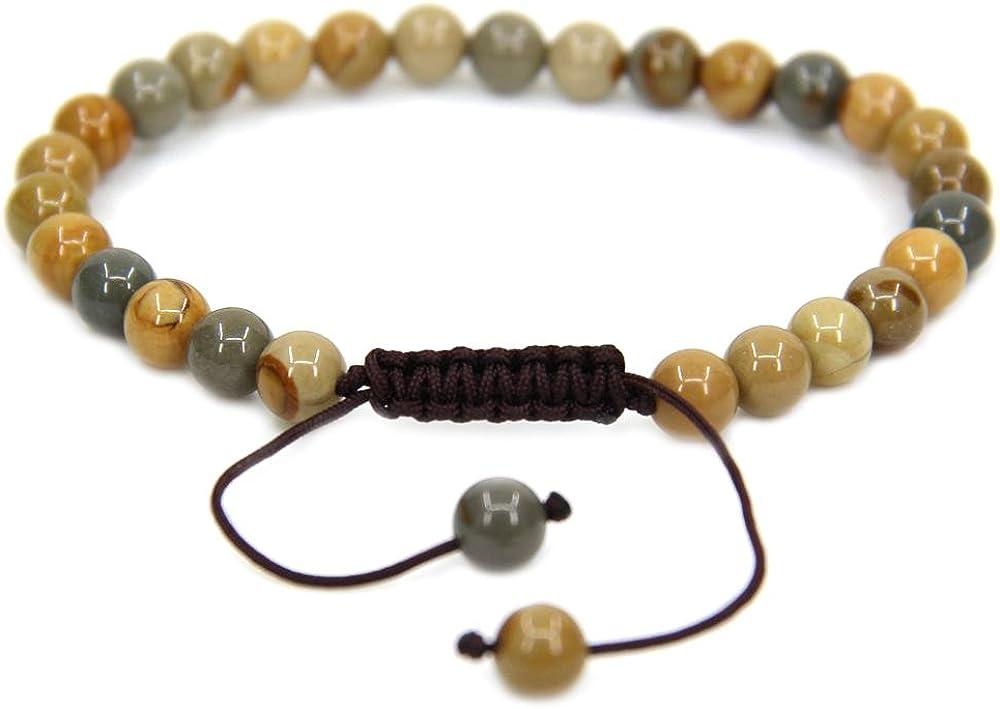 Pulseras unisex con piedras preciosas redondas de 6 mm de grosor, trenzadas de macramé, pulseras de chacra y reiki (17,7 cm - 22,8 cm, unisex)