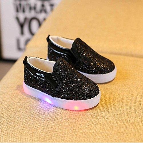 Igemy 1 Paar Baby Mode Sneakers LED leuchtende Kinder Kleinkind Beiläufige bunte helle Schuhe Schwarz